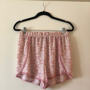 Pink and White High Waisted Flowy Shorts